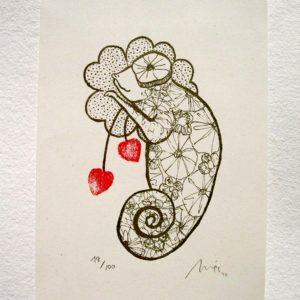 Serigrafía Camaleón enamorado