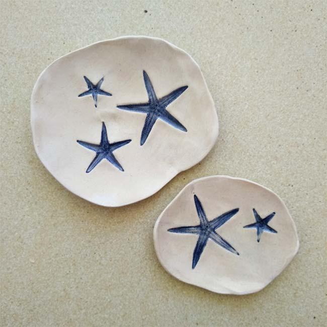 Cerámica con diseño de estrellas del mar